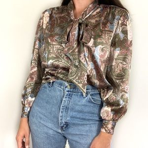 Vintage Paisley Blouse Pussy Bow Long Sleeve